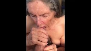 Granny drinks it all. Amateur older