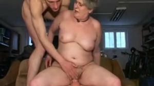 Sandora granny has sex with two guys on..