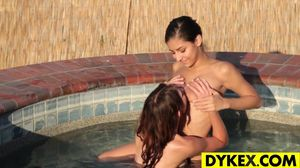 Outdoor lesbian sex with two hot gals