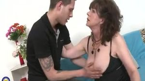 Horny Hairy Harrietta 55 doing her toyboy