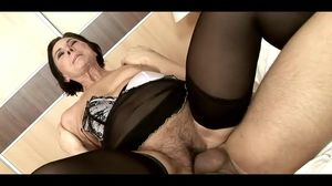 Hairy granny In Stockings Pleased Her..