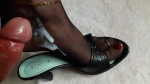 Feet in Nylons soaked in Cum and Piss