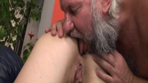 Old guy fucks younger girl and licks her..