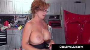 Texas Cougar Deauxma Pays Busty Mechanic..