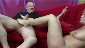 Fantastic mature gives footjob