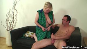 Busty granny fucks son-in-law after his..