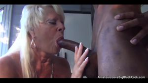 Old blonde assfucked by big black cock