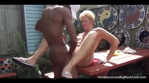 Older shorter haired amateur takes bbc..