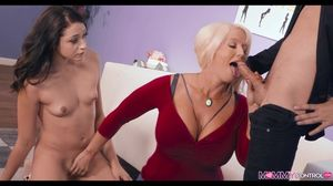 Blonde Mom with Huge Tits shows Her how..